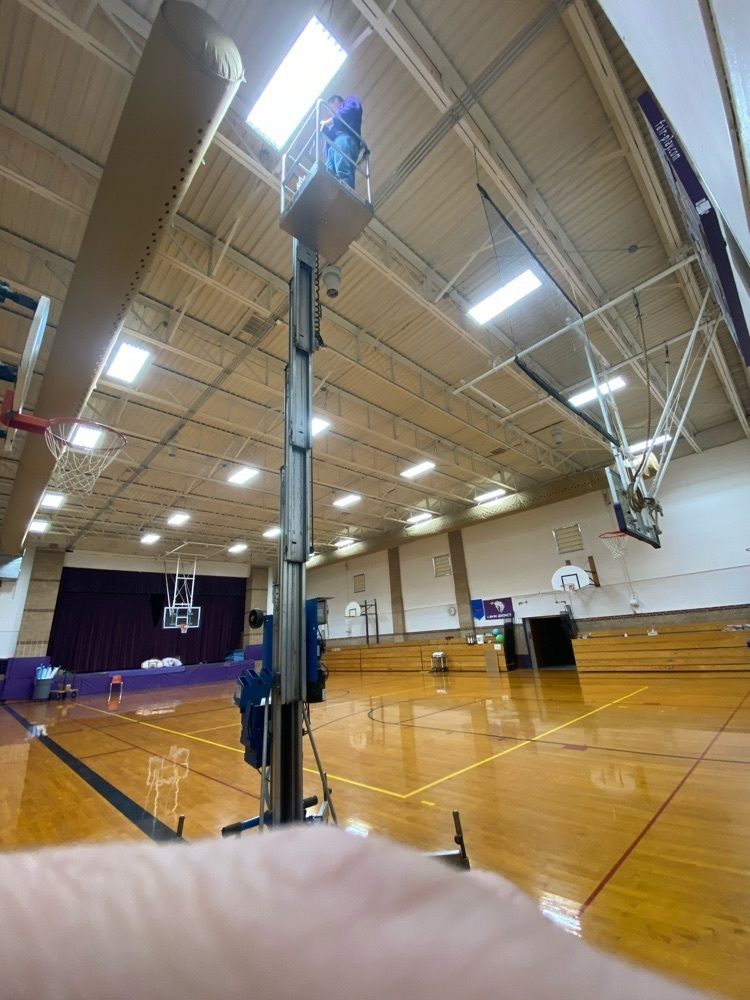Maintenance completed the LED light conversion in the LGS Gym! 120 fluorescent lights were swapped out with LED tubes to help become more energy efficient.