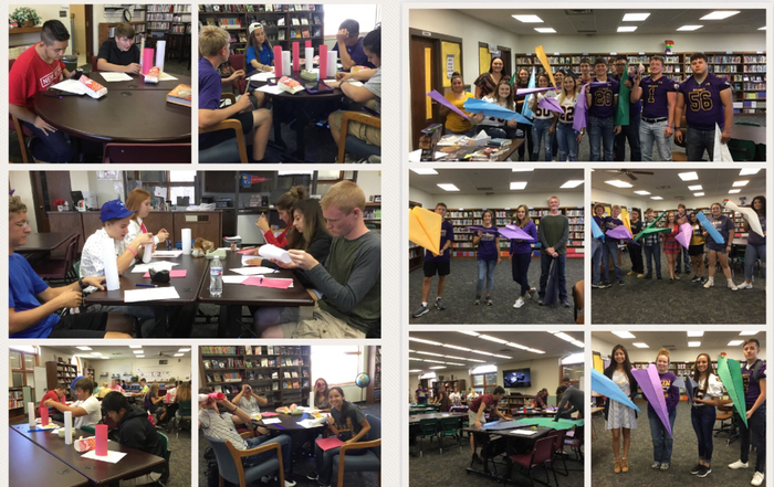 Here is a little Math Class Fun during Spirit Week.  Paper Airplane Winners: Ethan Katie Andrés Mitch