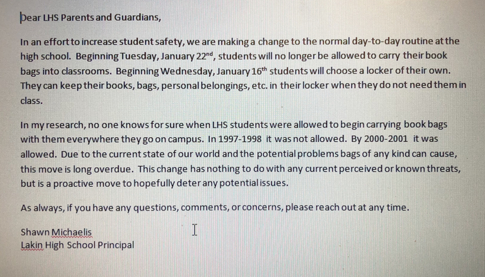 Locker notice to parents and guardians.