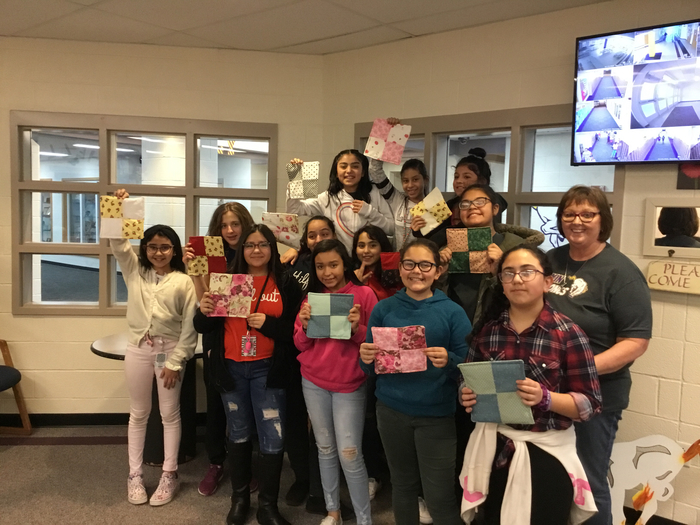 5th and 6th graders finished their potholders in Miss Judy's quilting class