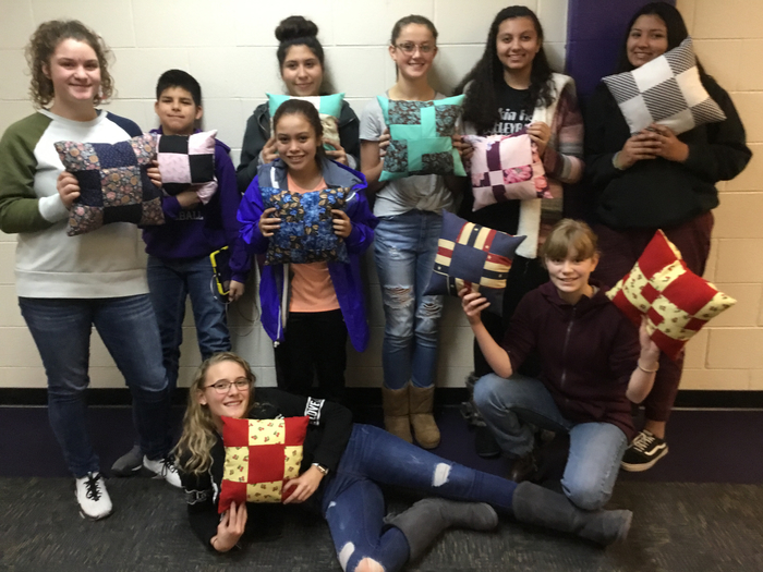 7th and 8th graders sporting their sewing skills!