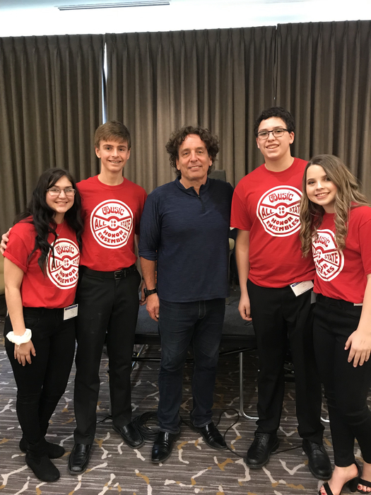 Devawny, Tristen, Kyle, and Megan with composer/director Jim Papoulis.