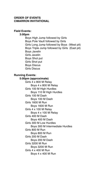 Cimarron HS Track Meet March 29