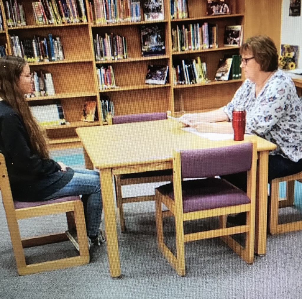 Makayla Woellhoff being interviewed by volunteer Judy Moyer.